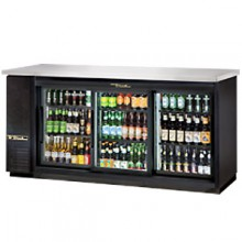 "73 1/8"" Wide Black Exterior Sliding Glass Door Back Bar Cooler"