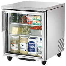 "27 5/8"" W 6.5 Cubic Ft Single Glass Door Undercounter Refrigerator"