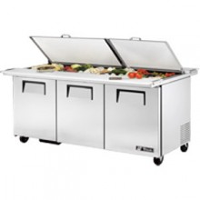 "72 3/8"" W 3 Door 24 Pan Mega Top Sandwich/Salad Unit w/ Two Cutting Boards"