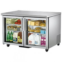 "48 3/8"" W 12 Cubic Ft Two Glass Door Undercounter Refrigerator"