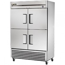49 Cubic Ft Four Solid Half Door Reach-In Freezer - Stainless Steel and Aluminum