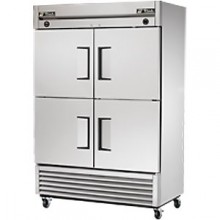 23/23 Cubic Ft Four Half Solid Door Dual Temperature Reach-In - Stainless Steel and Aluminum