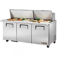 "72 3/8"" W 3 Door 30 Pan Mega Top Sandwich/Salad Unit"