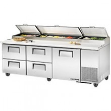 "93 1/4"" W One Door Four Drawer Pizza Preparation Table"