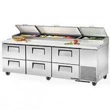 "93 1/4"" W Six Drawer Pizza Preparation Table"