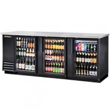 "90 3/8"" Wide Glass Door Black Back Bar Cooler"