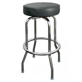 Chrome Backless Single Ring Swivel Stool - Black