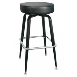 Black Backless Box Frame Swivel Bar Stool