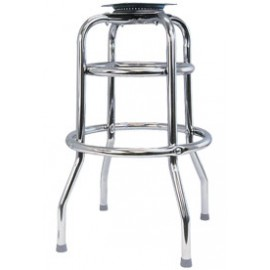 Chrome Double Ring Bar Stool Frame with Flat Swivel