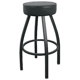 Black Backless Square Tube Swivel Ring Stool