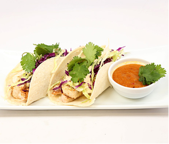 Mahi Mahi Fish Tacos with Chipotle Slaw and Pineapple Sauce