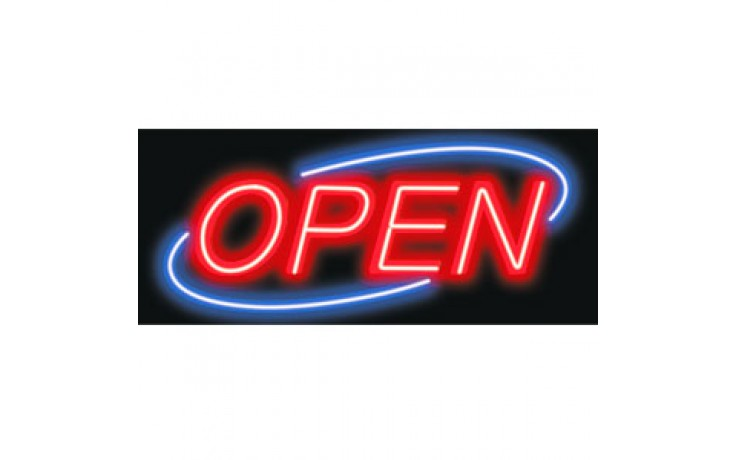 Oval Border Budget Neon Sign - OPEN