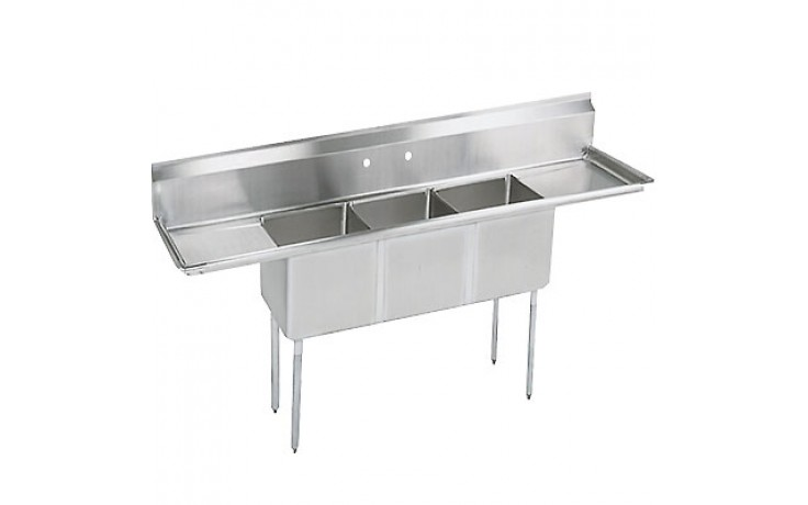 """Three 18"""" x 18"""" x 12"""" Tub Two 18"""" Drainboard 18 Gauge 304 Stainless Steel Economy Scullery Sink"""