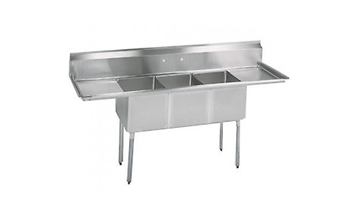 """Three 16"""" x 20"""" x 14"""" Tub Two 36"""" Drainboard 16 Gauge 304 Stainless Steel Economy Scullery Sink"""