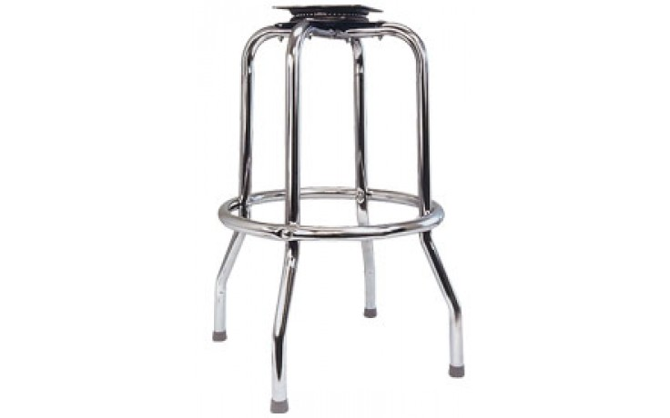 Chrome Single Ring Bar Stool Frame with Pitched Swivel