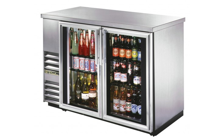 """61 1/8"""" Wide Narrow Depth Stainless Steel Counter top Glass Door Back Bar Cooler - Stainless"""