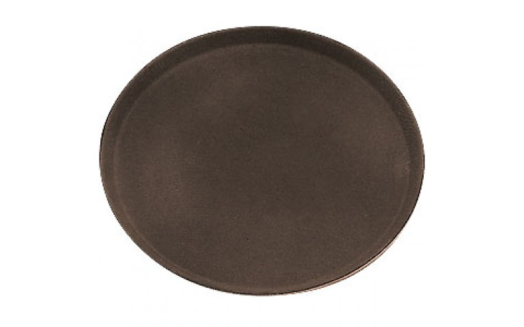 "27"" x 22"" Budget Non-Skid Oval Tray - Brown"