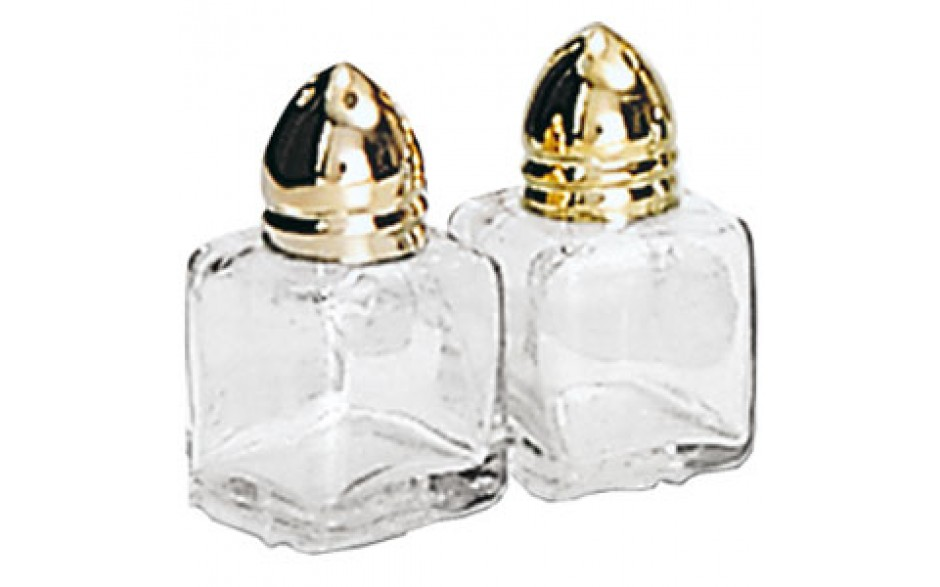 1/2 Oz. Mini Cube Salt and Pepper Shakers - Gold Top