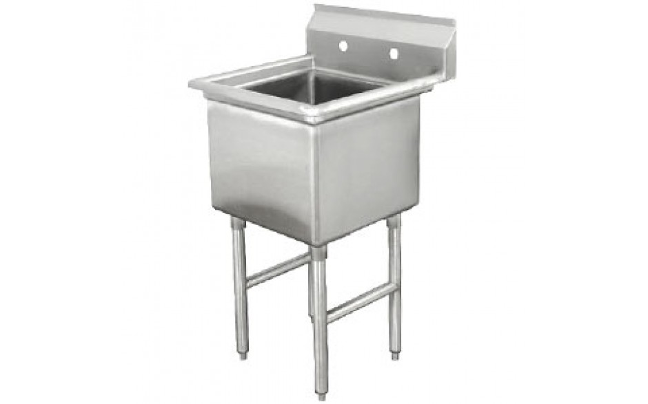 """One 18"""" x 18"""" x 12"""" Tub No Drainboard 18 Gauge 304 Stainless Steel Scullery Sink"""