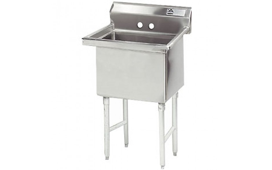 """One 18"""" x 18"""" x 14"""" Tub No Drainboard 16 Gauge 304 Stainless Steel Scullery Sink"""