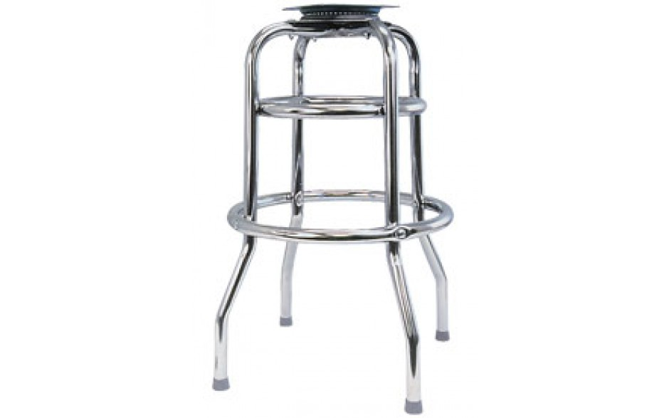 Chrome Double Ring Bar Stool Frame with Pitched Swivel