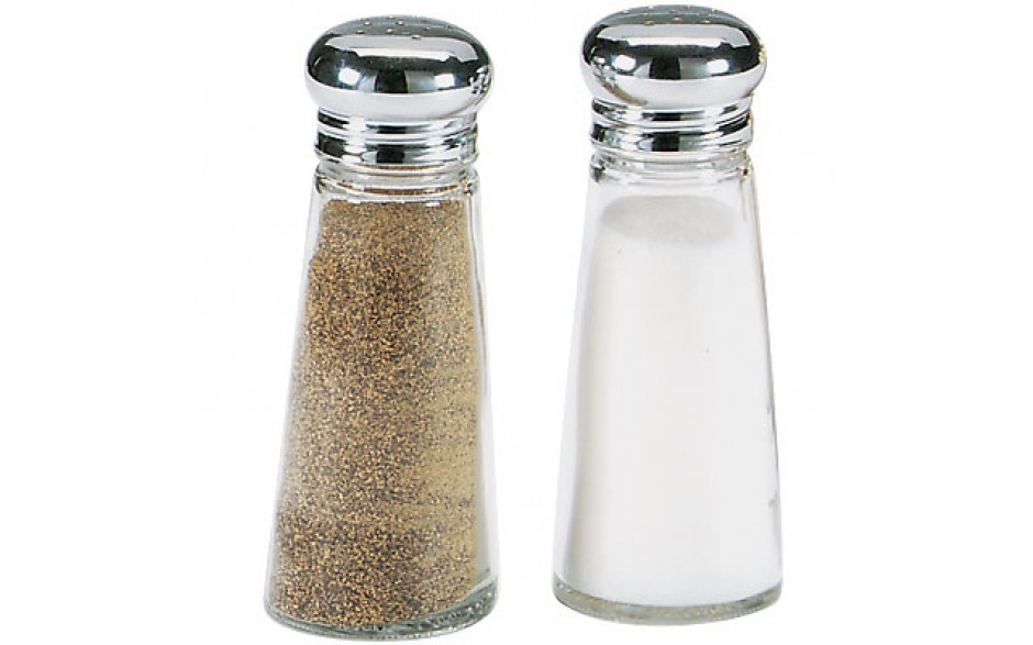 3 Oz. Jar Salt and Pepper Shaker - Stainless Steel Top
