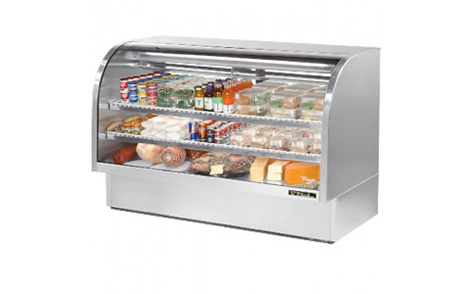 """72 1/4"""" W 37.1 Cubic Ft Stainless Steel Curved Glass Deli Case"""