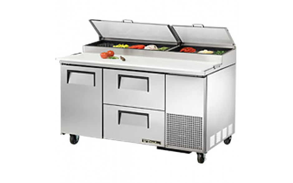 """60 1/4"""" W One Door Two Drawer Pizza Preparation Table"""
