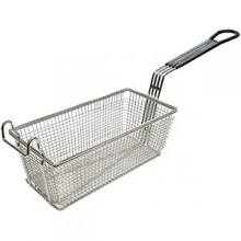"11"" L x 5 5/8"" W x 4 1/8"" H Coated Handle Fryer Basket - Black"