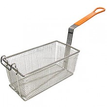 "12 1/8"" L x 6 5/16"" W x 5 5/16"" H Coated Handle Fryer Basket - Orange"