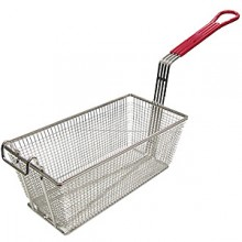 "12 7/8"" L x 6 1/2"" W x 5 3/8"" H Coated Handle Fryer Basket - Red"