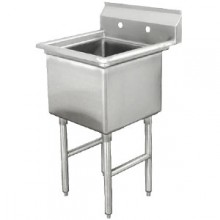 "One 18"" x 18"" x 12"" Tub No Drainboard 18 Gauge 304 Stainless Steel Scullery Sink"
