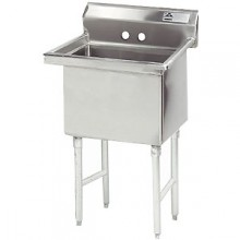 "One 18"" x 18"" x 14"" Tub No Drainboard 16 Gauge 304 Stainless Steel Scullery Sink"