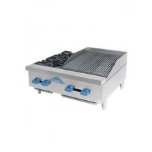 "2 Burner 18"" Charbroiler Combination Charbroiler/Hot Plate"