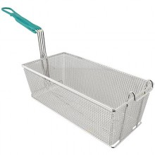 "17 1/8"" L x 8 1/4"" W x 6"" H Front Hook Coated Handle Fryer Basket"