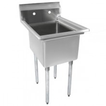 "One 18"" x 18"" x 12"" Tub No Drainboard 18 Gauge 304 Stainless Steel Economy Scullery Sink"