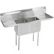 "Two 18"" x 18"" x 12"" Tub Two 18"" Drainboard 18 Gauge 304 Stainless Steel Economy Scullery Sink"