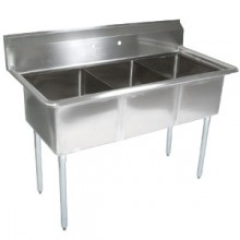 "Three 18"" x 18"" x 12"" Tub No Drainboard 18 Gauge 304 Stainless Steel Economy Scullery Sink"