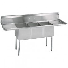 "Three 16"" x 20"" x 14"" Tub Two 36"" Drainboard 16 Gauge 304 Stainless Steel Economy Scullery Sink"