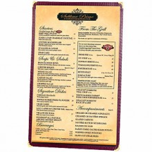 "5 1/2"" x 8 1/2"" Two View Clear Sewn Edge Single Jacket Menu"