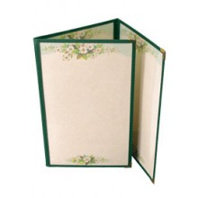 "5 1/2"" x 8 1/2"" Six View Clear Sewn Edge Trifold Jacket Menu"