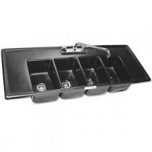 4 Wells with 2 Drainboards A.B.S. Drop-In Bar Sink