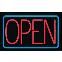 "14"" x 22"" Blue Border Open Illuminated Electric Sign"