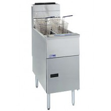 35-40 lb. Capacity Stainless Steel Economy Gas Floor Fryer - Natural Gas