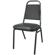 "Black Frame Square Back 3"" Seat Stack Chair"