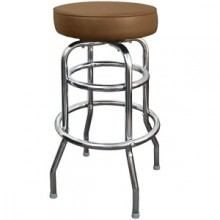 Chrome Backless Single Ring Swivel Stool - Mocha