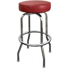 Chrome Backless Single Ring Swivel Stool - Burgundy