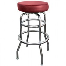 Chrome Backless Double Ring Swivel Stool - Burgundy