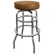 Chrome Backless Double Ring Swivel Stool - Mocha