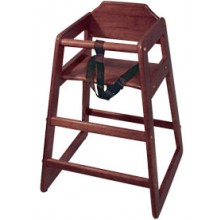 Wood High Chair with Mahogany Finish